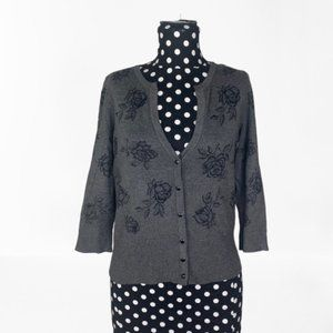 WHBM 3/4 Sleeve Gray Cardigan Graphic Roses Small